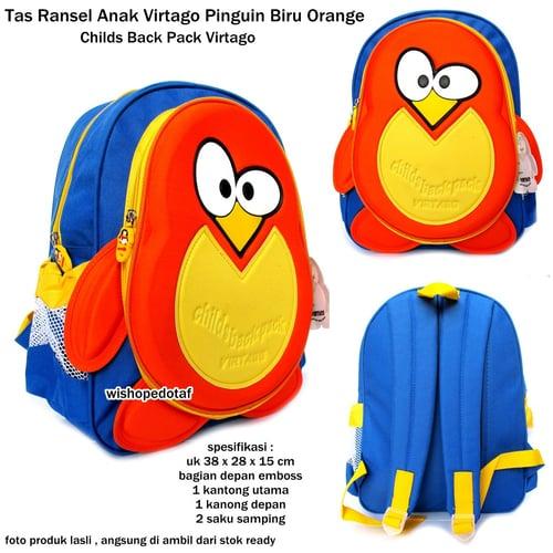 VIRTAGO Tas Ransel Karakter Anak Original Pinguin Biru Orange