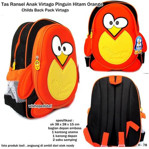VIRTAGO Tas Ransel Karakter Anak Original Pinguin Hitam Orange