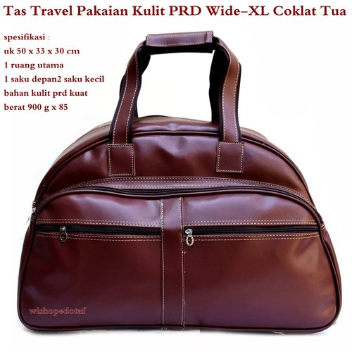 PRADA Tas Travel Kulit Suede Wide XL Coklat Tua