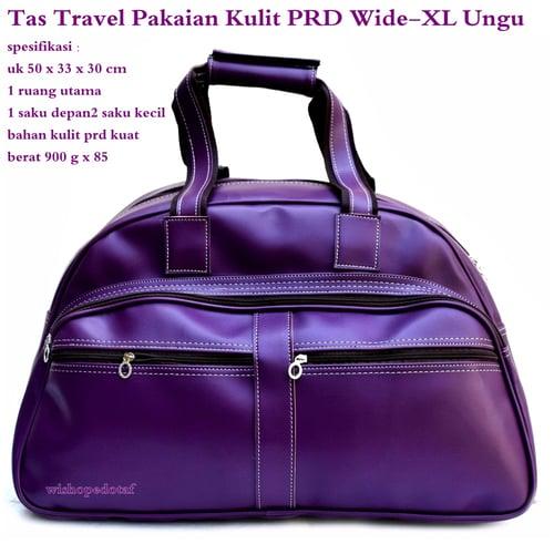 PRADA Tas Travel Kulit Suede Wide XL Ungu