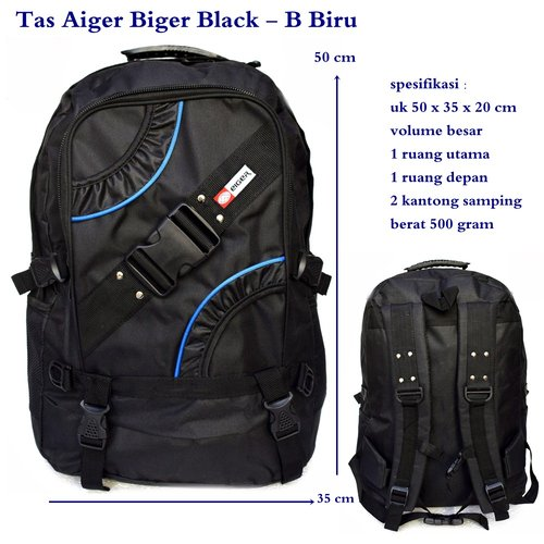 EIGER Tas Ransel Biger Black B BIRU