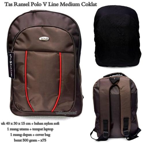 POLO Tas Ransel Laptop Medium V Line Coklat