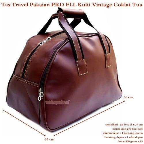 Tas Travel Besar PRD ELL Kulit Vintage Coklat Tua