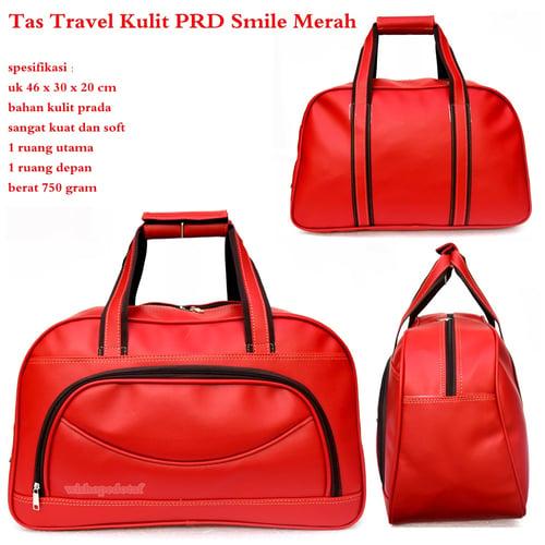 Tas Travel Besar Kulit Smile Merah