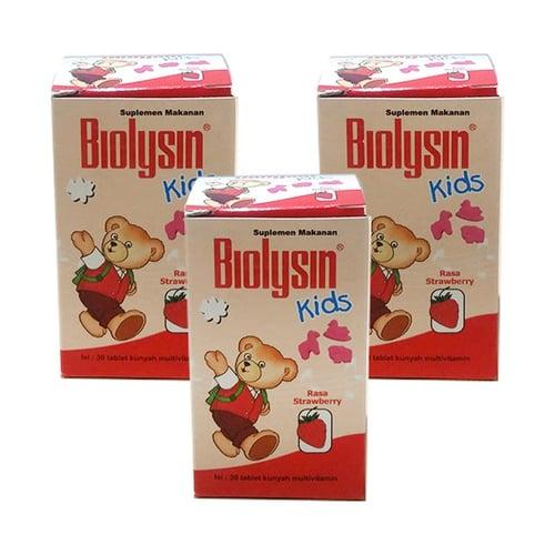 Biolysin Kids 30 Tablet - 3 Botol (Rasa strawberry)