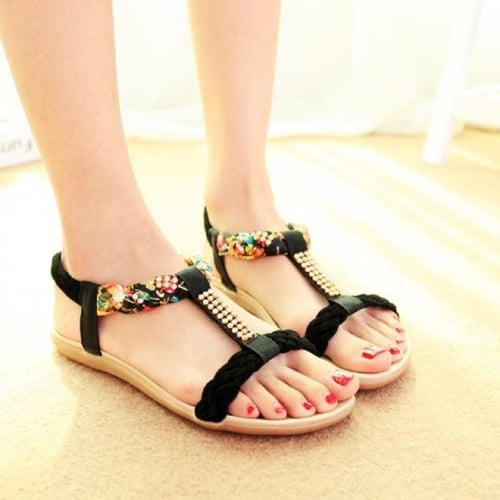 Sandal Wanita Slope Flat Kepang DO3 Hitam