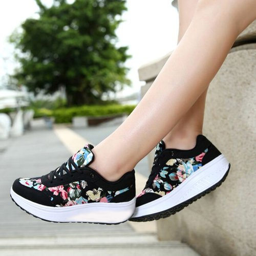 Sepatu Kets Wedges SR05 Bunga Hitam