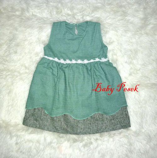 Dress Baju Pesta Anak Bayi Perempuan Je ol Renda Size L Hijau ( 4 - 5 th )