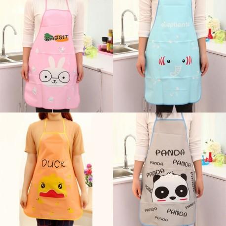 Apron Masak Celemek Karakter Plastik / Cooking Apron Korea / Chef / Perlengkapan Dapur Restoran Babymaniashop Duck Panda Elephant Rabbit
