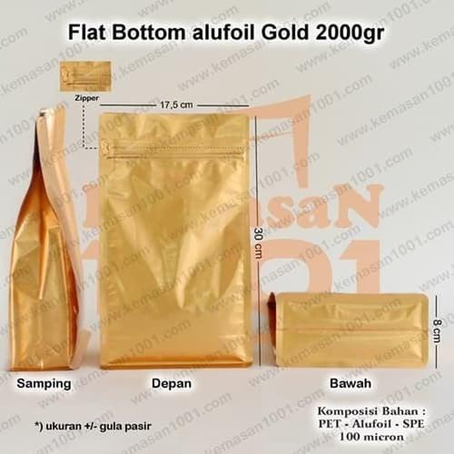 Kemasan Flat Bottom Alufoil Gold 2000WZ