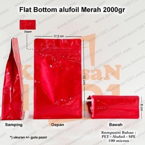 Kemasan Flat Bottom Alufoil Merah 2000WZ