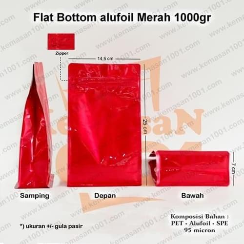 Kemasan Flat Bottom Alufoil Merah 1000WZ