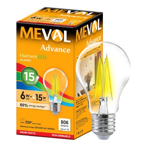 Meval LED Filament 6W - E27 - Kuning