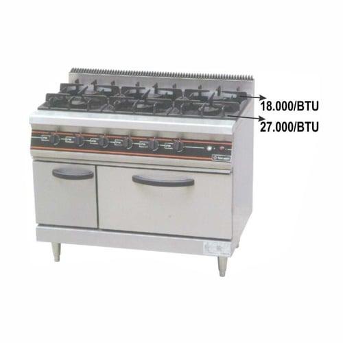 Getra RBJ-6 Gas open burner/Kompor Gas 6 tungku + Oven