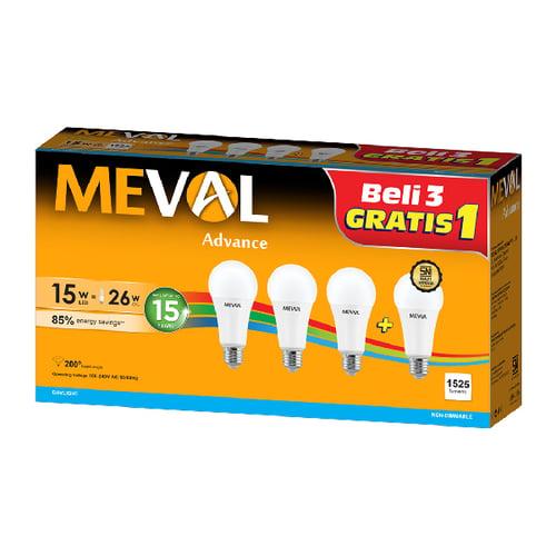 Meval LED Bulb 15W Beli 3 GRATIS 1 - Putih