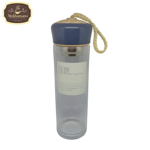 Enjoy Glass Water Bottle Infuser Botol Minum Detox Blue 420ml