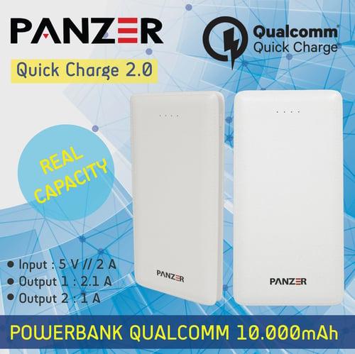 panzer Power Bank 10.000mAh Original Fast Charging Qualcomm 2.0 Putih