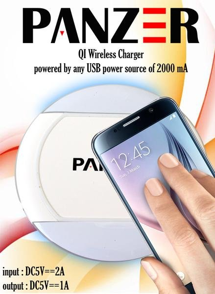 PANZER Q1 Wireless Charger For Samsung S6/edge/note 5 White
