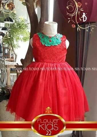 Dress Flower Kids Merah Tutu Leher Hijau Bordir