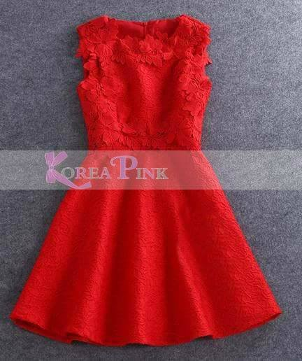Dress Korea Merah Renda