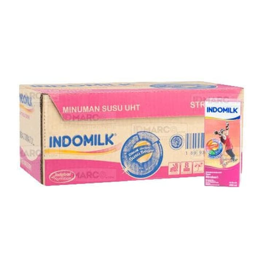 Indomilk UHT Stroberi 250 ml Isi 24 pcs