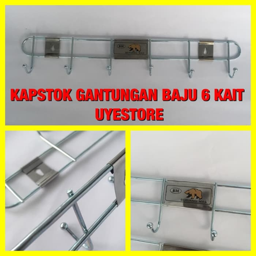GANTUNGAN BAJU CANTOLAN KAPSTOK BAJU BESI STAINLESS 6 KAIT Z0204A