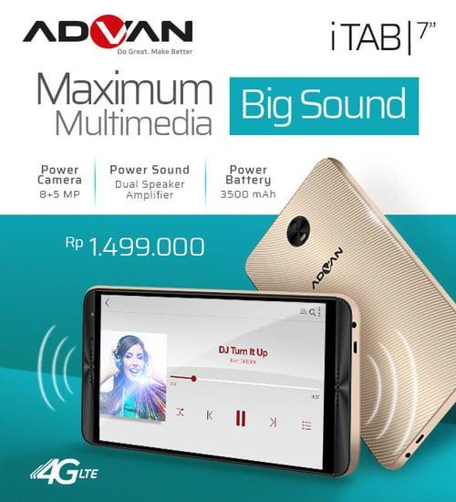 Advan iTAB 4G LTE - Ram 2Gb/16GB - Garansi Resmi - Gold