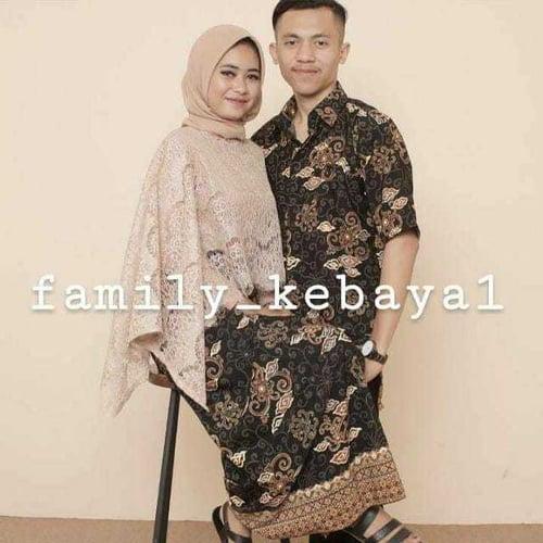 Couple Setelan Kebaya Rafanda Brukat Kalong Batwing Jumbo Rok Lilit Dan Kemeja Batik Pria