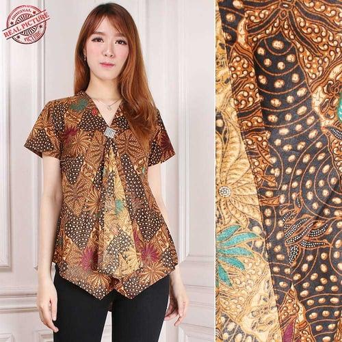 Atasan Blouse Bassamah Kemeja Lengan Pendek Batik Wanita All Size