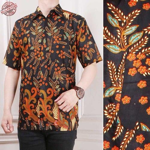 Atasan Kemeja Azkadina Lengan Pendek Casual Modern Batik Pria Tersedia Ukuran M-XL