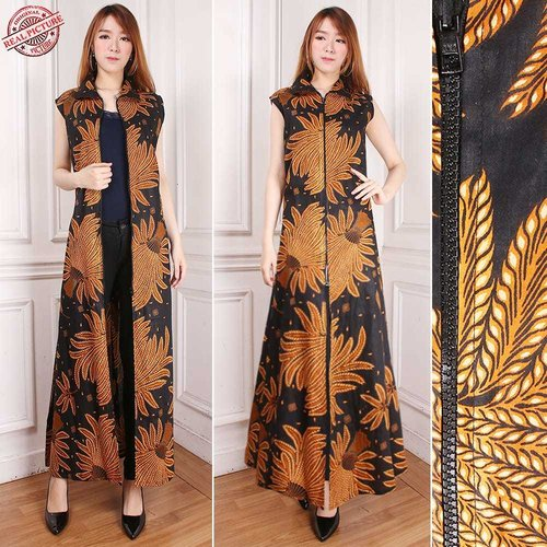 Gamis Maxi Dress Myesha Cardigan Rompi Long Dress Terusan Outer Blazer Batik Wanita All Size