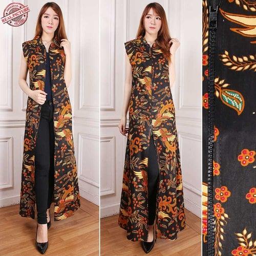 Gamis Maxi Dress Shakila Cardigan Rompi Long Dress Terusan Outer Blazer Batik Wanita All Size