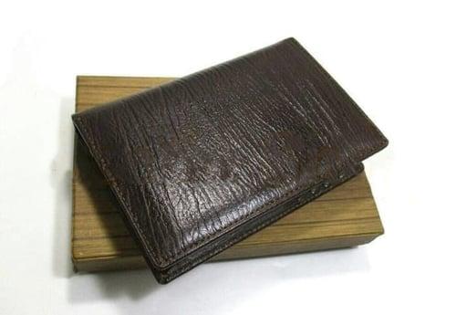 dompet kulit pria/asli/murah/premium/dompet 3/4 serat kayu asli garut - Cokelat