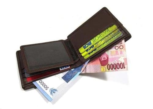 dompet kulit sapi/pria/asli/murah/casual/standar/dompet garut - Cokelat