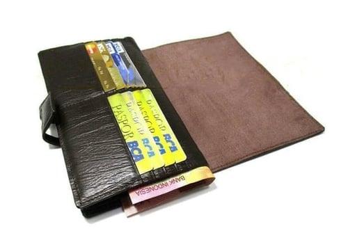 dompet kulit wanita/panjang/kartu/asli/sapi/premium/serat kayu/garut - Cokelat