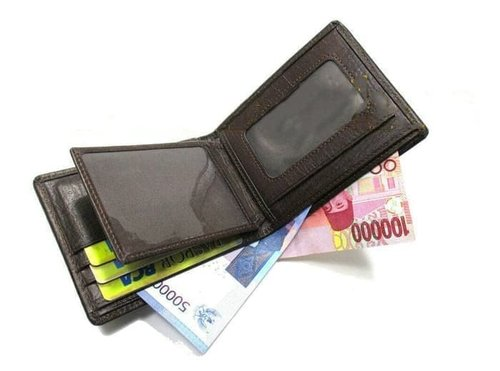 dompet kulit pria/casual/asli/sapi/murah/premium/serat kayu/garut - Cokelat