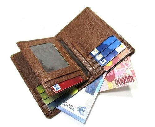 dompet kulit pria 3/4 muat banyak kartu/motif jeruk/asli garut - Cokelat