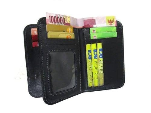 Dompet kulit sapi pria 3/4 muat banyak kartu/asli/premium/murah/garut - Hitam