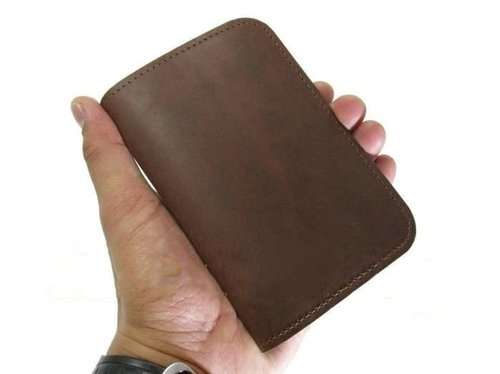 dompet kulit pria 3/4 banyak kartu/asli/pull up/premium/murah/garut - Cokelat
