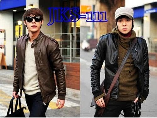 HARGA PROMO! Jaket Semi Kulit Korea Prima Hitam - Coklat