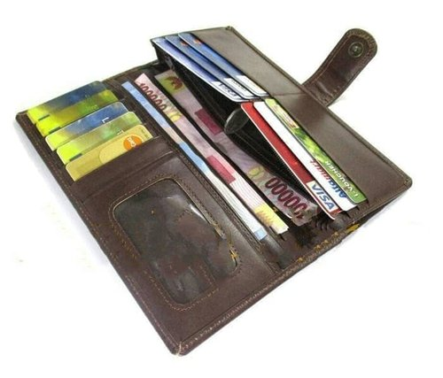dompet kulit wanita/pria/panjang/banyak kartu/asli/sapi/pull up/garut - Cokelat
