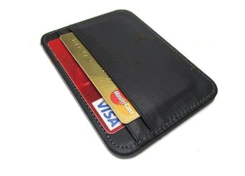 dompet kulit kartu tipis/slim wallet/pria/wanita/asli/murah/garut - Hitam