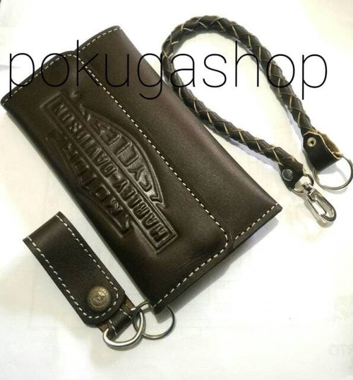 dompet kulit asli logo harley davidson brown free gantungan tali
