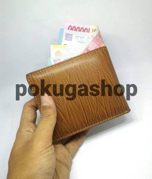 dompet kulit pria serat kayu asli garut tan unik