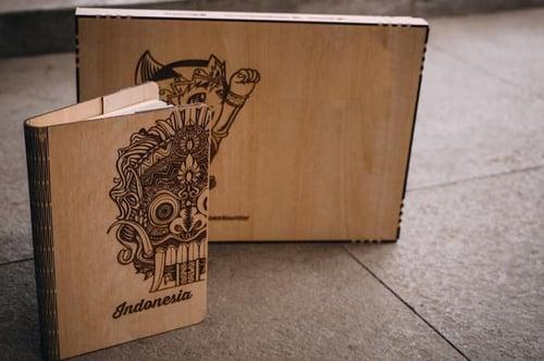 CUSTOM Wooden Book Cover ukuran A5 - Sampul Buku Customize Kayu