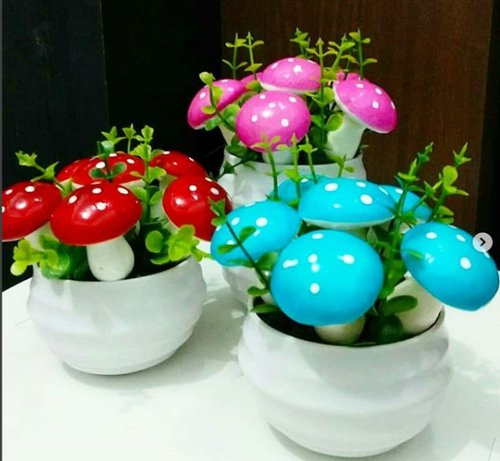 Bunga Mushroom on pot - jamur artificial Bunga Palsu