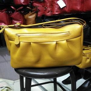 Tas kulit untuk wanita asli garut , warna kuning size L - Kuning