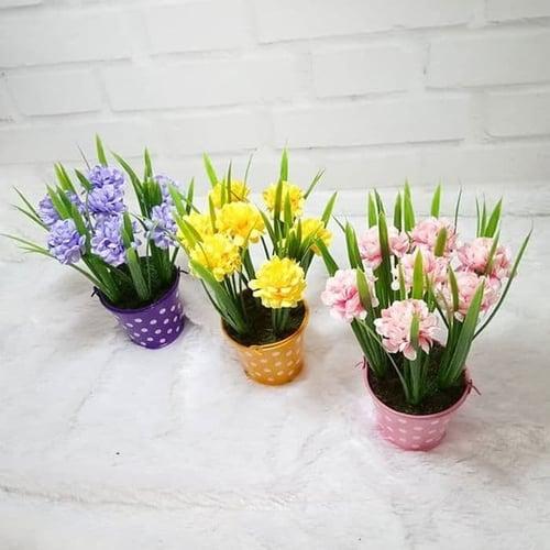 Artificial Flower with Polkadot - Hiasan Pajangan Home Decor Bunga Pal