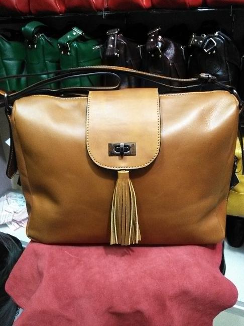 Tas kulit full up untuk wanita , asli garut ARYAN P.P code A.P 3084 - Cokelat Muda