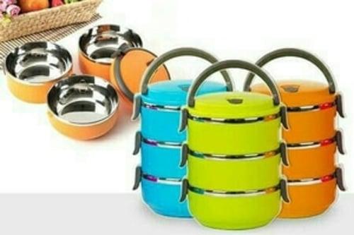 PROMO    Rantang / Lunch Box Kotak Makan / Bekal Stainless susun 3 warna